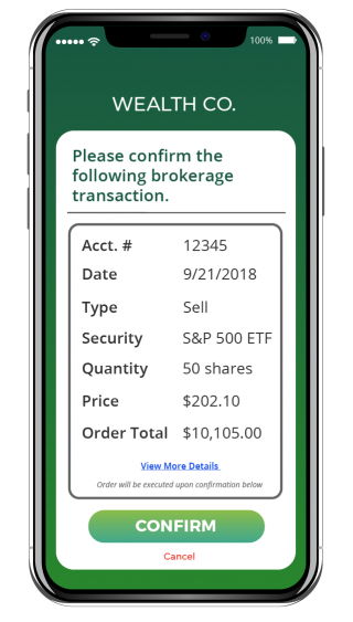 A Confirmation for a brokerage transaction sent by Wealth Co. secured by Privakey