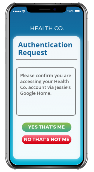 Authentication Request from the Health Co. App, powered by Privakey technology